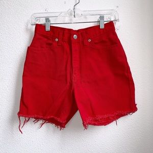 Vintage Faded Glory | Red Distressed Shorts
